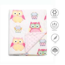 """Boritar Soft Baby Blanket with Minky Raised Dotted,  Pink Owls 30""""x40"""""""