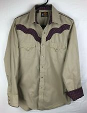 VTG Kenny Rogers Karman Western Shirt USA Made Pearl Snap Brown Mens 15.5/34