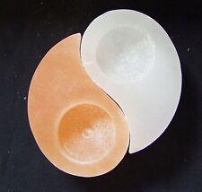 Ying und Yang Selenit Stein weiß orange geschliffen Teelicht schön erholsam