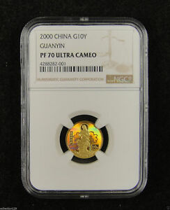 CHINA Gold Coin 10 Yuan 2000, Holographic, Goddess Kuan Yin, NGC PF 70