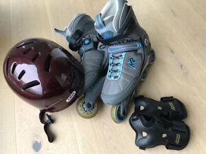 K2 Inline skates Gr 42 mit Abus Helm 53-58