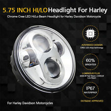 """Harley Headlights 5-3/4"""" 5.75inch Chrome Lens LED Motorcycle Daymaker Projector"""