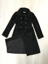 L K BENNETT BLACK LUXURIOUS FEATHERY FAUX FUR VELVET FEEL WINTER COAT SZ 8