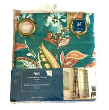"""Pier 1 Ashford Floral Grommet 84"""" Lined Curtain Teal New Open Package"""