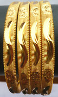 Indian 22K Gold Plated 4 Pcs Fashion Bangle Bracelet Churi Size 2.8'',2.10''