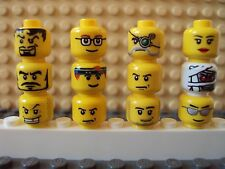 Lego Minifig Mixed Lot Of 12 Minifigure Heads/Faces People Part Classic Yellow D