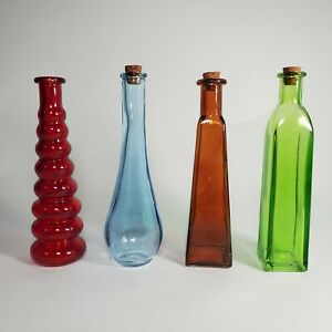 "Thin Modern Shapes -4 Colors- Glass Bottles/ Bud Vases with Corks 7"" Tall"