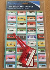 Retro Vintage Cassette Tape Gift Wrap & Tag Set *2 Sheets Wrapping Paper 2 Tags*