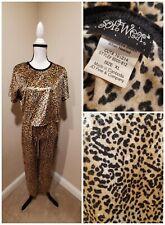 Vintage 90s Soft Fuzzy Leopard cheetah Print Pjs Pajamas Glitter Crop Top sweats