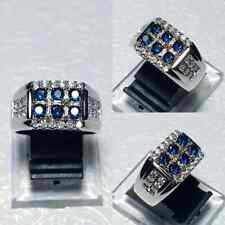 Fashion Women Man 925 Silver Sapphire Band Ring Wedding Couple Party Size 5-10
