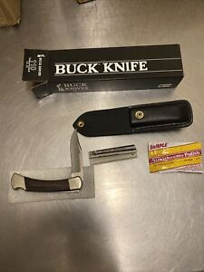 New Limited Vintage Buck 110 Folding Knife 1995 Nickel Silver Bolsters Sheath