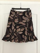 Ann Taylor Loft Woman's Lined Skirt - Black with Leaves - 2 Petite- NWOT