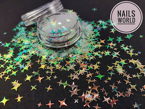 Nail Art STAR 8 Colours Holographic 3D Glitter SHAPE 2 4 5mm Shining Sequins