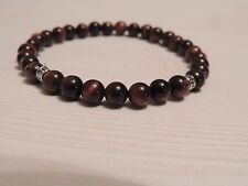 MENS MANTRA BRACELET- RED TIGERS EYE 6MM STONE - SILVER SPACER BEADS
