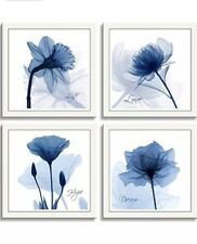 HLJ Arts Panels Crystal Theme Giclee Flickering Blue Flowers On Canvas 4-12X12