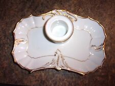 ANTIQUE Furstenberg white and gold Inkwell tray and insert - LOTDEB
