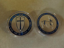 CHALLENGE COIN KNIGHTS TEMPLAR WITH CROSS AND HORSE BLUE KEEPSAKE FREE CAPSULE