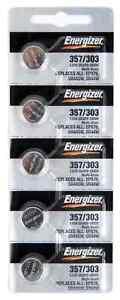5 pcs Energizer 303 357 SR44SW SR44W Silver Oxide Battery EPX76 A76