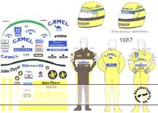 1/20 DECAL HELMET FIGURE SENNA LOTUS 85 87 98T 99T