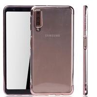 Funda Protectora Móvil para Samsung Galaxy A7 2018 Transparente Rosa
