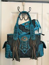 Cowgirl Trendy Western Concho Fringe Concealed Carry Handbag w/Wallet TURQUOISE