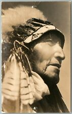 AMERICAN INDIAN CHIEF ANTIQUE REAL PHOTO POSTCARD RPPC