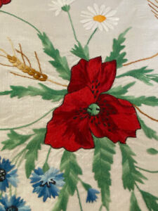 Vintage Silk Society Square Hand Embroidered Linen Tablecloth  WW537
