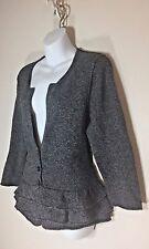 Banana Republic Sweater size L Lambs Wool Blend Black White Tweed Ruffle