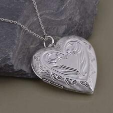 Silver Plated Women Chain Necklace Heart-shaped Photo Frame Locket Pendant