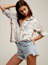 New Free People Wesley Plaid Buttondown Shirt Morning Dew Combo Top XL.