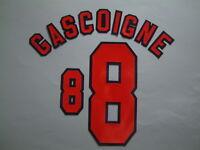 GASCOIGNE NOME+NUMERO UFFICIALE ENGLAND HOME WC FRANCE 1998 OFFICIAL NAMESET