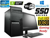 Gaming PC Desktop Computer i5 16GB 128GB SSD+1TB Win10 WIFI + Monitor