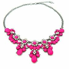 Rhinestone Crystal Flower Choker Collar Chunky Statement Bib Necklace Jewelry