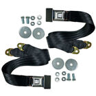 "(2) 72"" Universal 2-Point Lap Belt BLACK Seat Belts, Pair  - Hot Rat Street Rod"