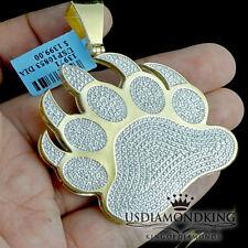 "2.5"" BIG 1/2 CT GENUINE REAL DIAMOND TIGER BEAR PAW PRINT CHARM PENDANT NEW MENS"