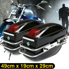 Pair Universal Motorcycle Hard Tank Saddlebags Side Boxs Light For Honda