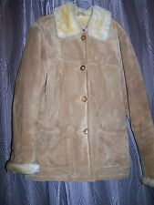 DENNIS BASSO Ladies Suede Faux Fur Lined Leather Coat Size Small fits lk Large
