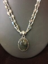 NEW Large Labradorite & 925 silver pendant beads crystal necklace crystal