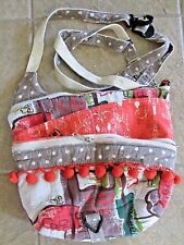 Old Bagzz Purse Hand Bag Vintage Fabric Oranges Browns Med Tote USA CrossBody