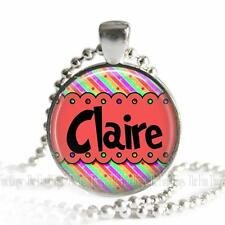 Personalized Girls Name Whimsical Pattern Glass Top Pendant Necklace with Chain