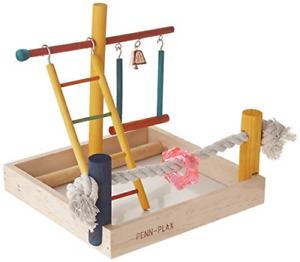 Penn Plax Wood Bird Playpen, Parrot Playstand Bird Playground Perch Gym Ladder
