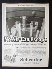 Original 1926 Schrader Tire Valve Cap Ad 10 x 13.5 NO AIR CAN ESCAPE VALVE CAP