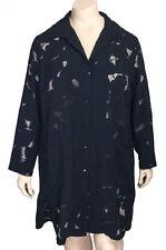 Risona by Tomo Black Italian Devore Shirt Jacket Blouse Sz 5 = US 14 16 $218 NWT