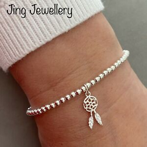 Sterling Silver Beaded Stretch Stacking Bracelet With Dream Catcher Charm 925