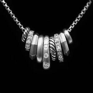 DAVID YURMAN NEW Stax Rondelle Sterling Silver & Pave Diamond Pendant Necklace