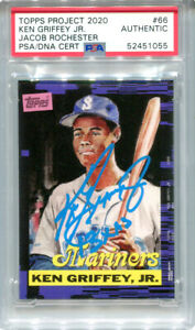 Ken Griffey Jr. Signed Topps Project 2020 Card #66 Inscribed 13x AS Blue 1/1 PSA