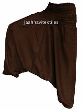 INDIAN BAGGY GYPSY HAREM PANTS YOGA MEN WOMEN BROWN ONE COLORED COTTON TROUSER