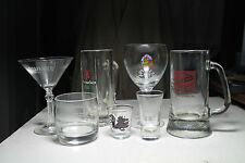 lot vtg Falstaff glass beer mug Leffe Chalice Heineken dragon shot glass Martini