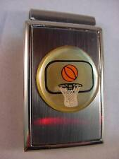 BASKETBALL and HOOP SATIN and CHROME MONEY CLIP BOXED NEW