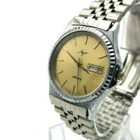Retro LUCH Quartz Golden Day Date USSR Men English Formal Watch Mineral Crystal